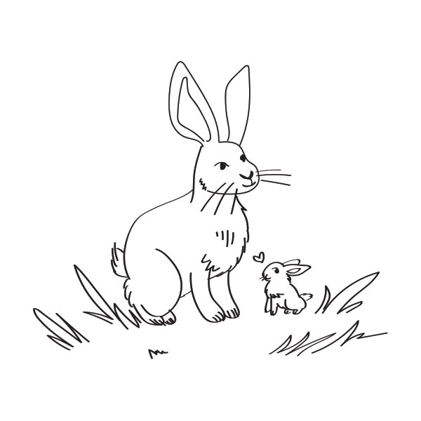 Hare & Leveret Coloring Page