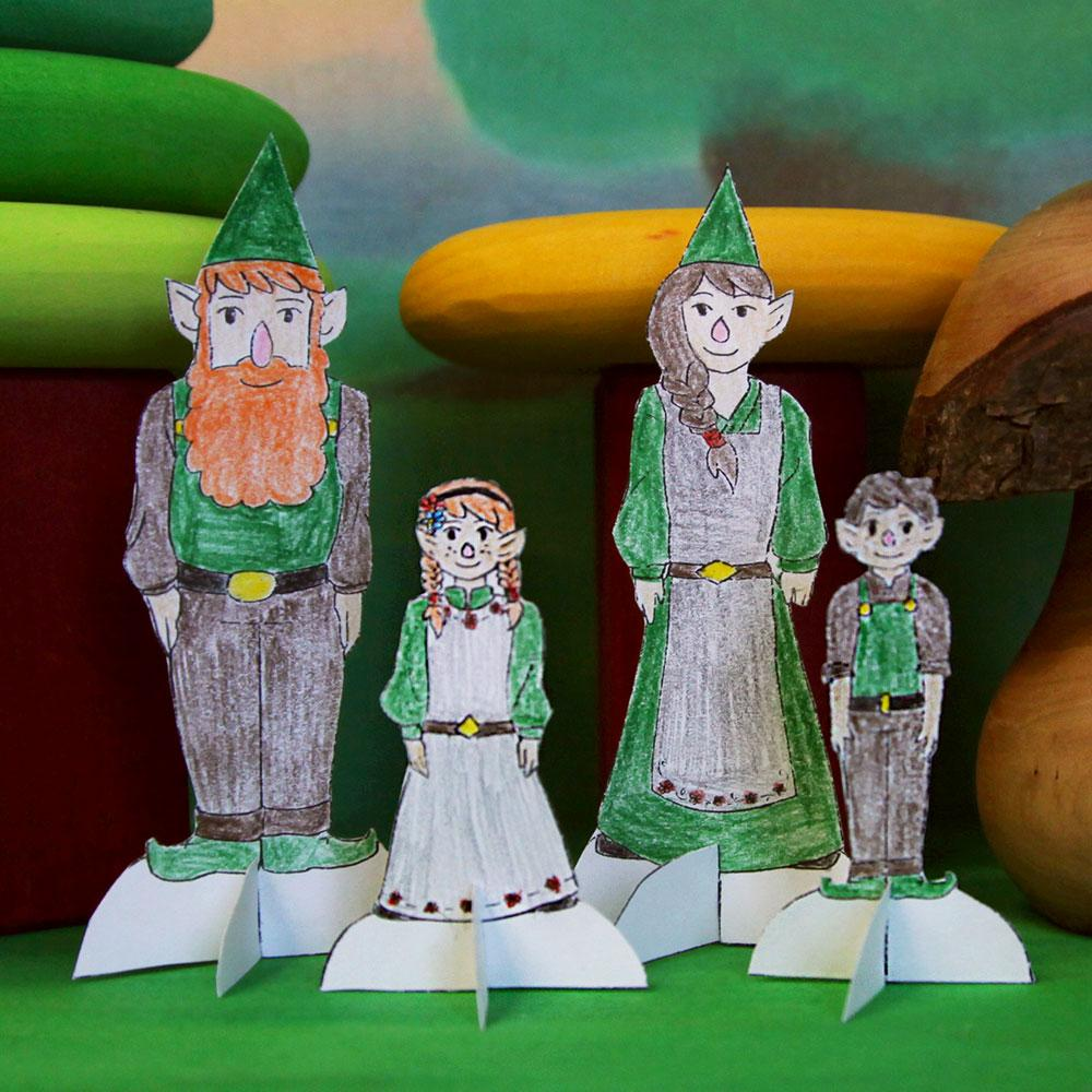 Gnome Paper Doll Family
