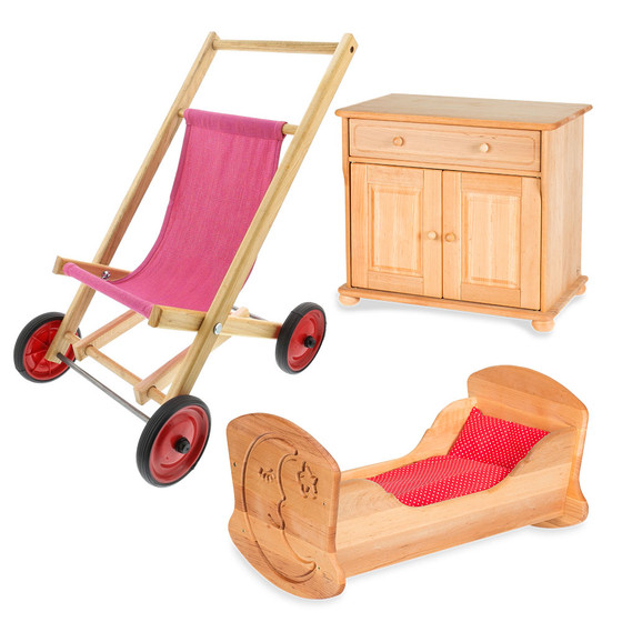 0048a88063a Wooden Doll Bed   Stroller - Nova Natural Toys   Crafts